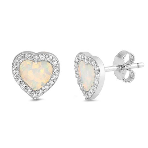 White Opal & Cz Heart Stud .925 Sterling Silver Earrings