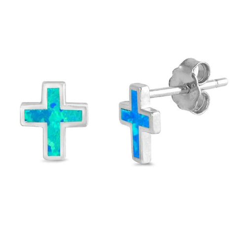 Blue Opal Cross  .925 Sterling Silver Earrings