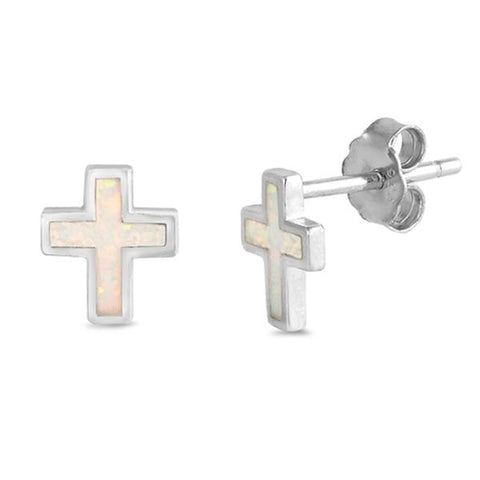 White Opal Cross  .925 Sterling Silver Earrings