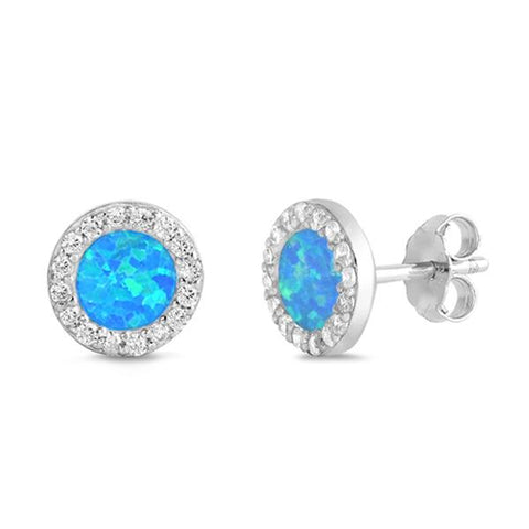 Round Blue Opal & Cz Stud .925 Sterling Silver Earrings