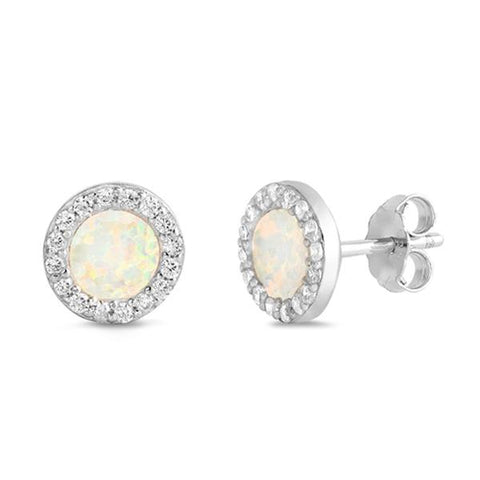 Round White Opal & Cz Stud .925 Sterling Silver Earrings