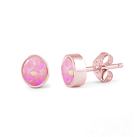 7mm Bezel Rose Gold Plated Pink Opal Stud Earrings .925 Sterling Silver