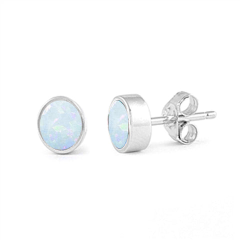 7mm Bezel White Opal Stud Earrings .925 Sterling Silver
