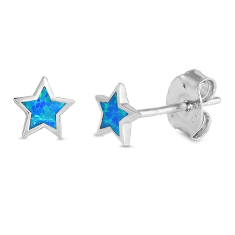 Cute Blue Opal Star Stud .925 Sterling Silver Earrings