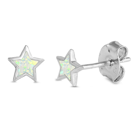 Cute White Opal Star Stud .925 Sterling Silver Earrings