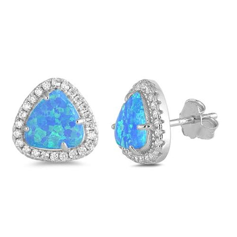 Blue Opal & Cz Trillion Cut  .925 Sterling Silver Earrings