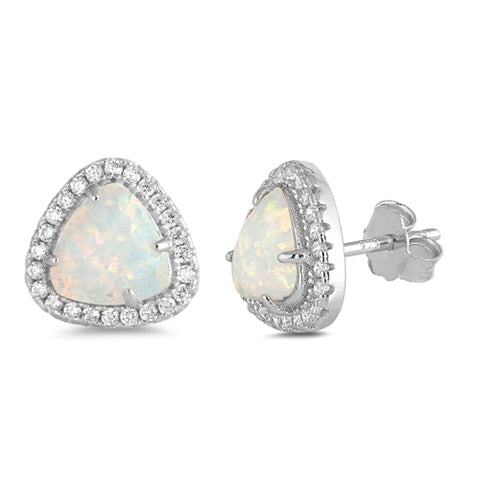 White Opal & Cz Trillion Cut  .925 Sterling Silver Earrings