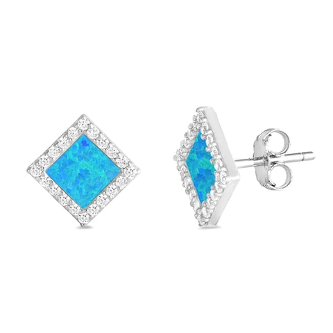 Blue Opal Diamond Shape Stud .925 Sterling Silver Earrings
