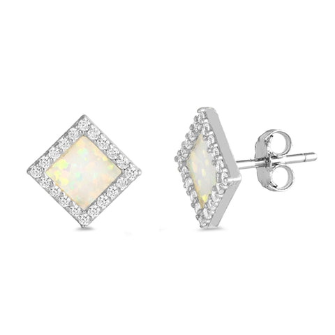 White Opal Diamond Shape Stud .925 Sterling Silver Earrings