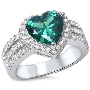 <span>CLOSEOUT!</span> 3ct Heart Shape Emerald & Cz .925 Sterling Silver Ring Sizes 4-11