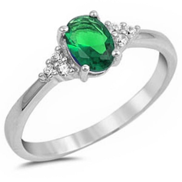Oval Emerald & Cz Beautiful Fashion .925 Sterling Silver Ring Sizes 4-11