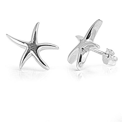 Plain Starfish .925 Sterling Silver Earring