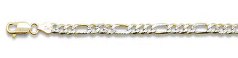 "120-5MM Yellow Gold Plated Pave Figaro Chain .925  Solid Sterling Silver Available in 7""- 26"" inches"