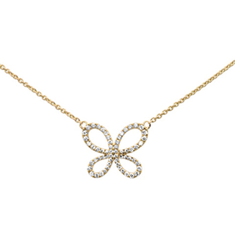 ".34ct 14k Yellow Gold Diamond Butterfly Pendant Necklace 16"" + 2"" Ext"