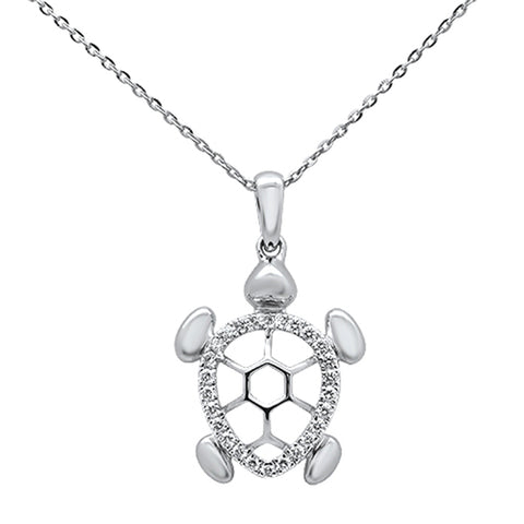 ".18ct 14k White Gold Diamond Turtle Sea Life Pendant Necklace 16"" + 2"" Ext"