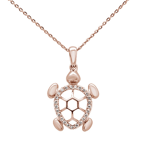 ".18ct 14k Rose Gold Diamond Turtle Sea Life Pendant Necklace 16"" + 2"" Ext"