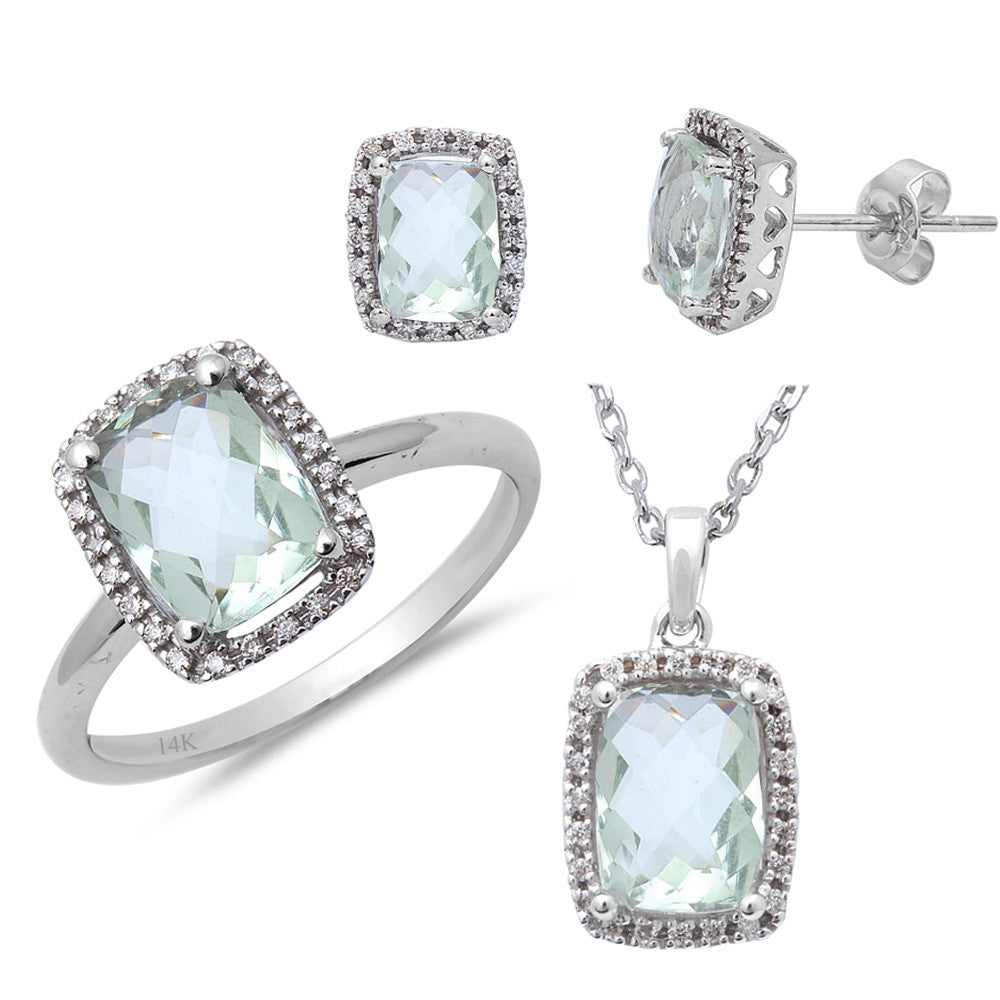 3.25ct Diamond & Green Amethyst Three piece Earring, Ring and Pendant Set