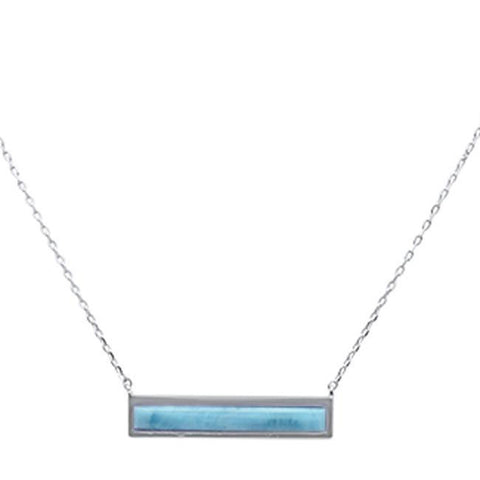 "Bar Natural Larimar .925 Sterling Silver Necklace 17-19"" Ext"