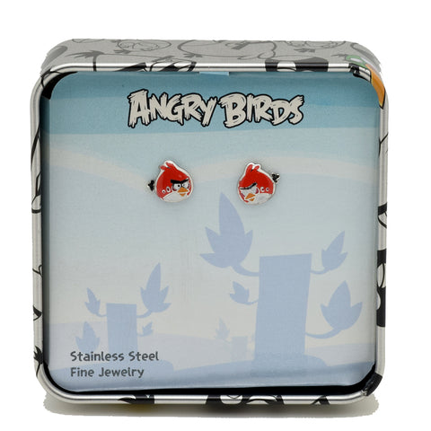 LICENSED PRODUCTS--ANGRY BIRDS™ Stainless Steel Red Bird Character Stud Earrings
