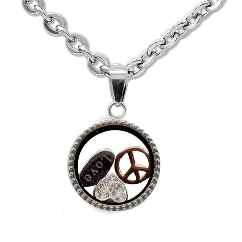 "LICENSED PRODUCTS--Connections from Hallmark™ Stainless Steel Peace love Shaker Pendant Necklace 18"" Chain + 2"" Ext."