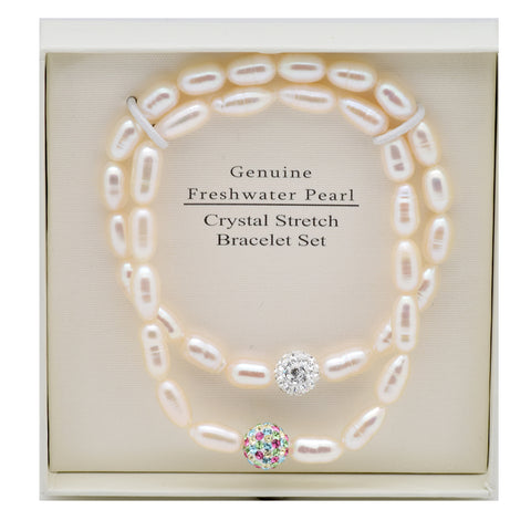 LICENSED PRODUCTS--THE ESSENTIAL PEARL™ FreshWater Pearl Crystal Strech Bracelet 2 Piece Set