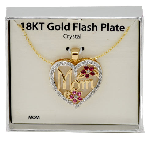 "LICENSED PRODUCTS--Brass 18kt Gold Flash MOM Heart Pendant with 18"" Chain"