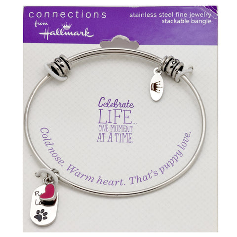 LICENSED PRODUCTS--Connections from Hallmark™ Stainless Steel Stackable Puppy Love Heart Bangle