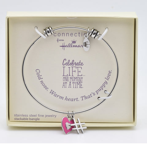 LICENSED PRODUCTS--Connections from Hallmark™ Stainless Steel Stackable Hashtag Heart Bangle