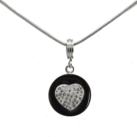 "LICENSED PRODUCTS--Connections from Hallmark™ Stainless Steel Crystal Heart Starter Necklace 18"" Chain + 2"" Ext."