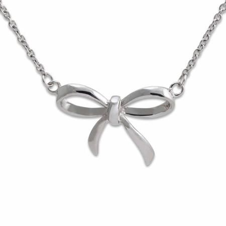"LICENSED PRODUCTS--Connections from Hallmark™ Stainless Steel Bow Pendant Necklace 18"" Chain + 2"" Ext."