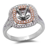 .37ct 14kt Two Tone Rose and White Gold Round Diamond Semi Mount Engagement Ring