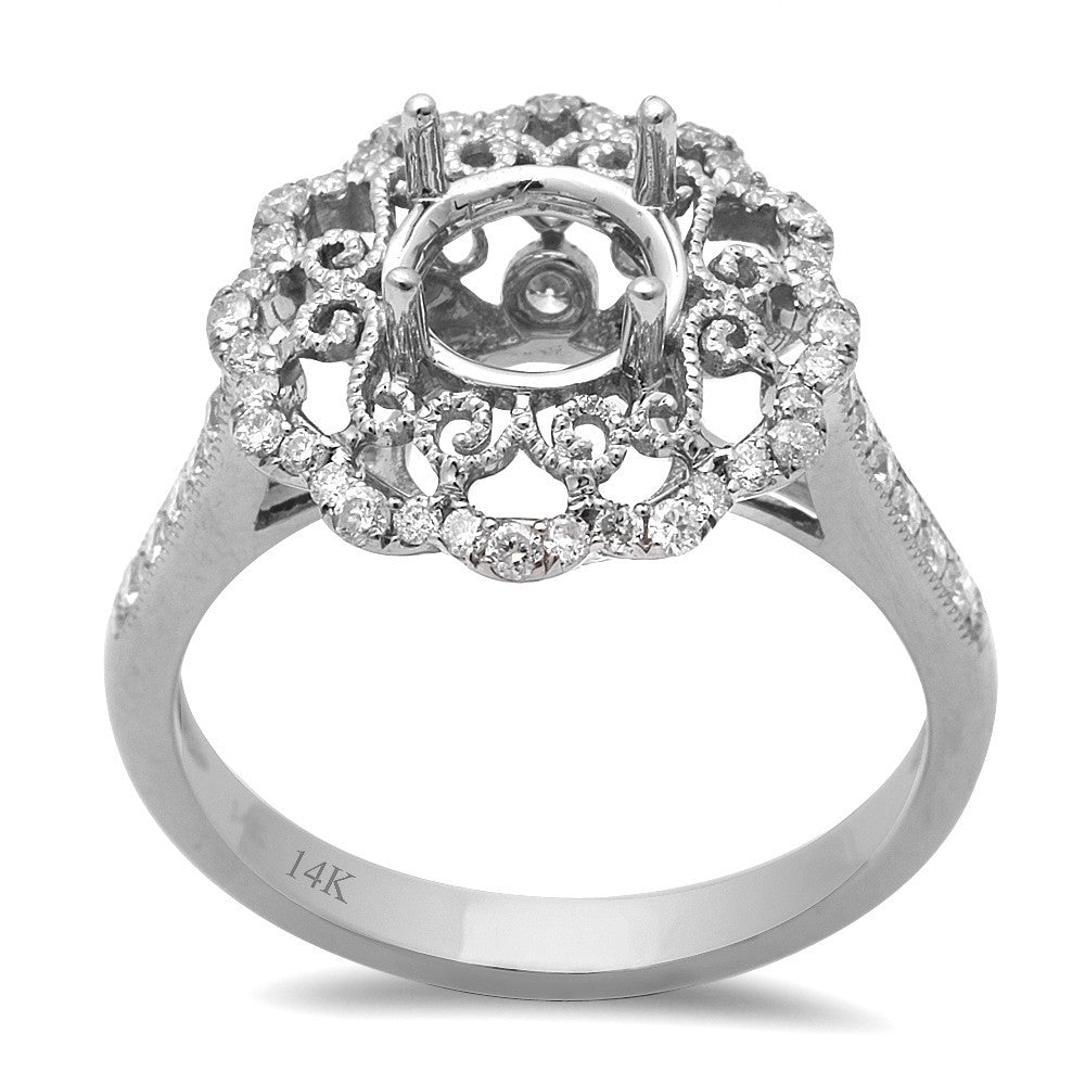 .49ct 14kt White gold Round Diamond Semi Mount Engagement Ring Sz 6.5
