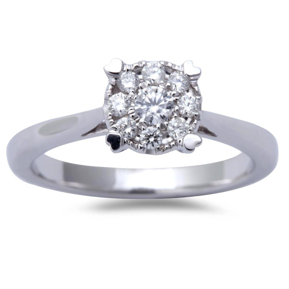 Beautiful White Gold Round Diamond Cathedral Style Wedding Engagement Ring