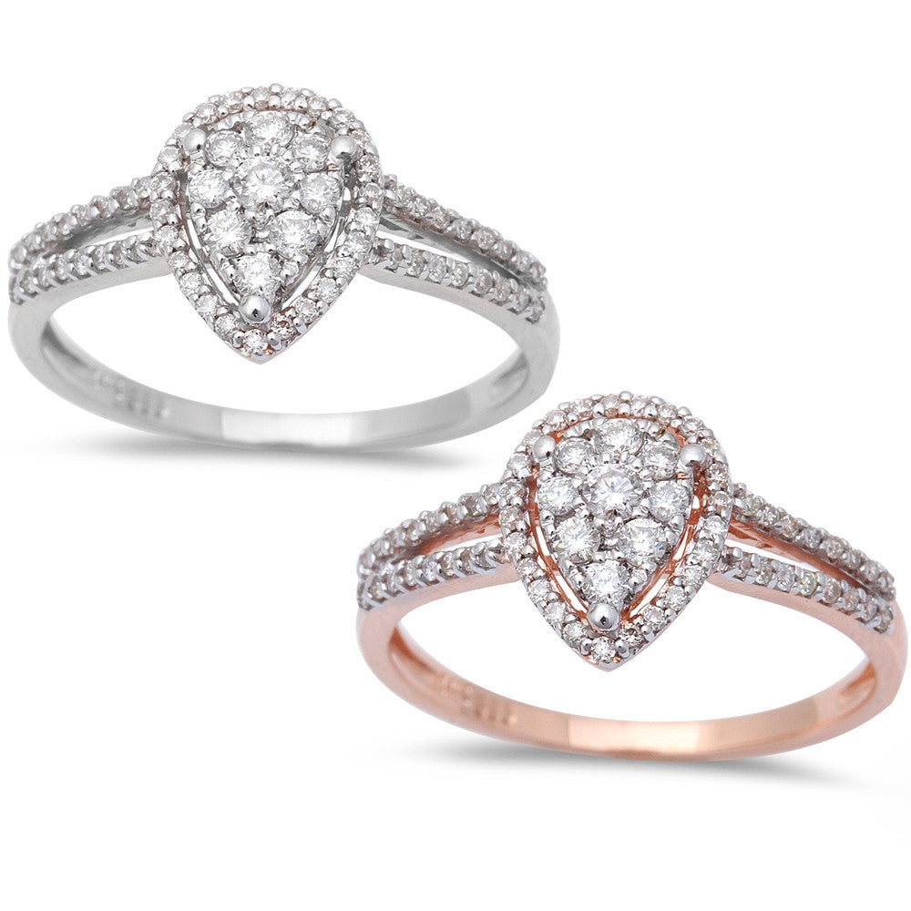 .32ct Pear Shaped Halo Diamond Engagement Wedding Ring 14kt White or Rose Gold