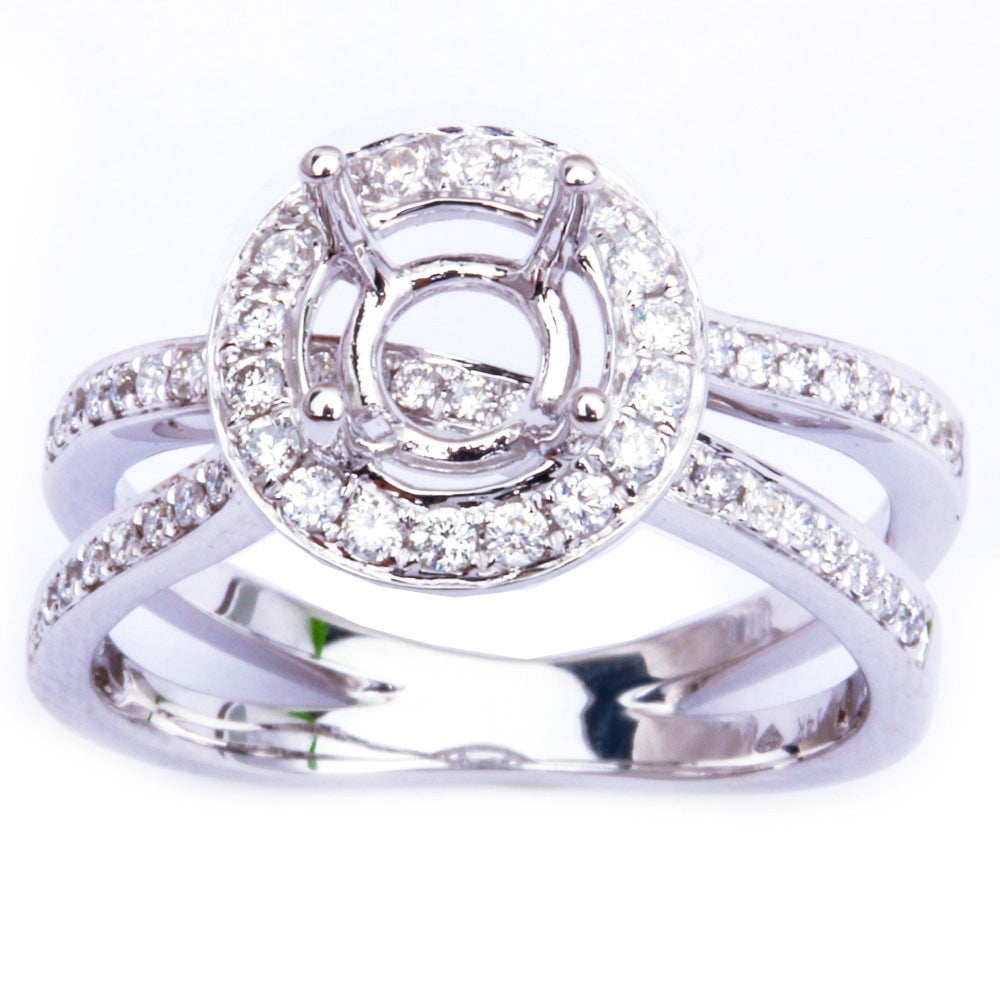 Halo Style .43ct 14kt Twisted Band E-SI Round Diamond Semi Mount Engagement Ring