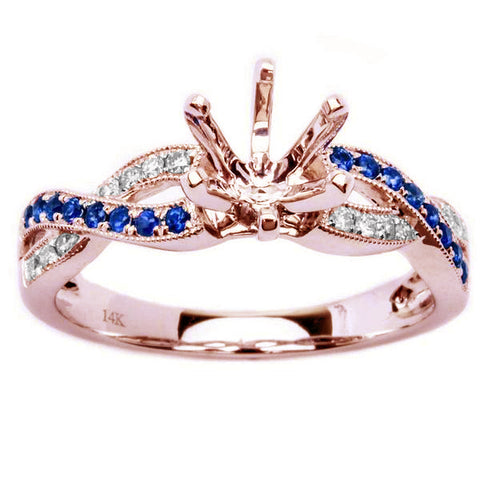 .23ct Genuine Blue Sapphire & Diamond Twisted Prong Rose Gold Semi Mount Engagement Ring