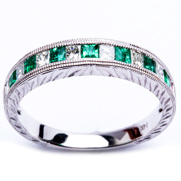 .64CT Emerald & Princess Cut Diamond Band Size 6.5