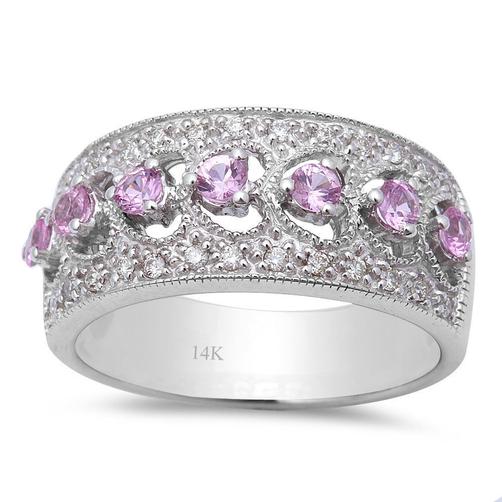 <span>GEMSTONE CLOSEOUT! </span>  .64ct Antique Filigree Heart Diamond & Pink Sapphire 14kt White Gold Band Ring