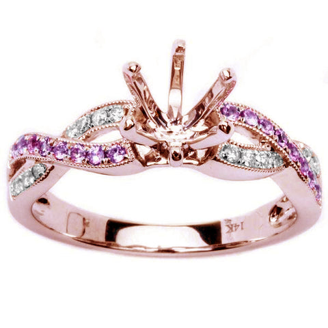 .23ct Genuine Pink Sapphire & Diamond Twisted Prong Rose Gold Semi Mount Engagement Ring