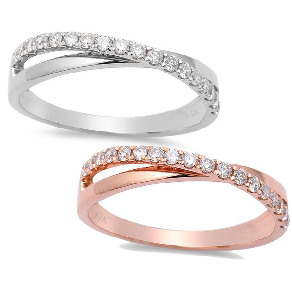 .27ct 14kt Rose or White Gold Pave Set Diamond Intertwined Band Wedding Ring