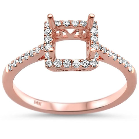 0.26cts 14k Rose Gold Semi-Mount Diamond Ring Size 6.5