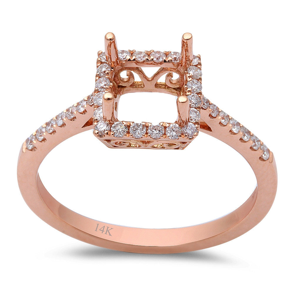 .26ct F VS 14kt Rose gold Halo Round Diamond Semi Mount Engagement Ring Sz 6.5
