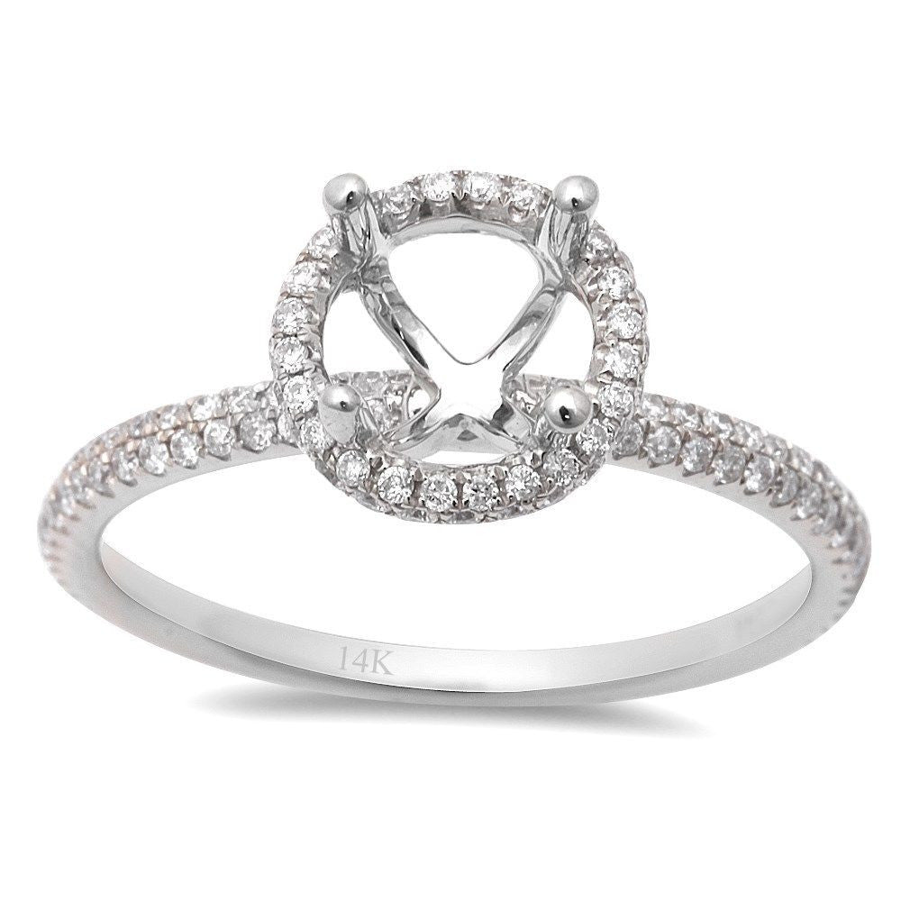 .40ct Round Halo Style 14kt White Gold Diamond Semi Mount Engagement Ring