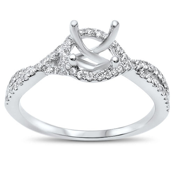 .34cts F-VS2 Round Diamond Twisted Prong Halo Semi Mount Engagement Ring Size 6.5