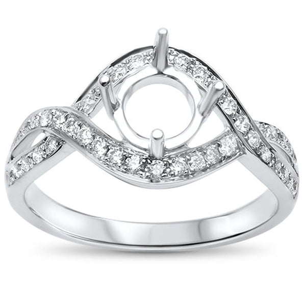 .31cts F-VS2 Round Diamond Twisted Prong Semi Mount Engagement Ring Size 6.5