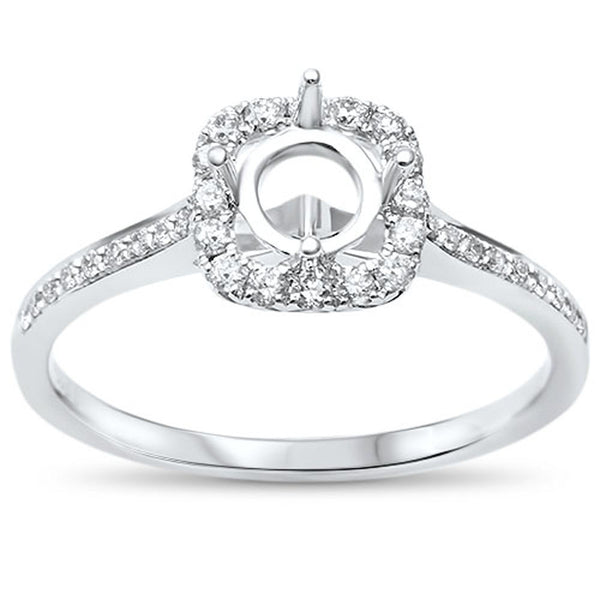 .21cts F-VS2 Round Diamond Halo Semi Mount Engagement Ring Size 6.5