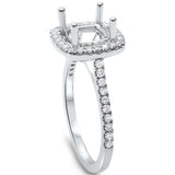 .38cts F-VS2 Princess Cut Diamond Halo Semi Mount Engagement Ring Size 6.5