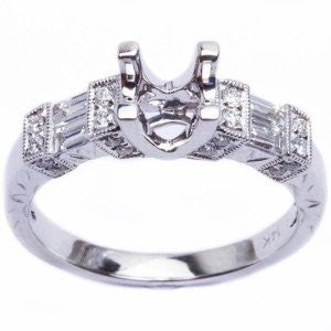 Classic 14k White Gold Genuine Diamond Semi-Mount Engagement Ring - Size 6.5