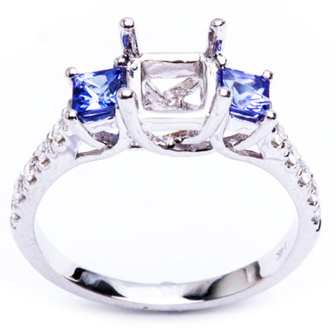 .59ct 3 Stone 14kt White Gold Tanzanite & Diamond Semi Mount Engagement Ring 6.5