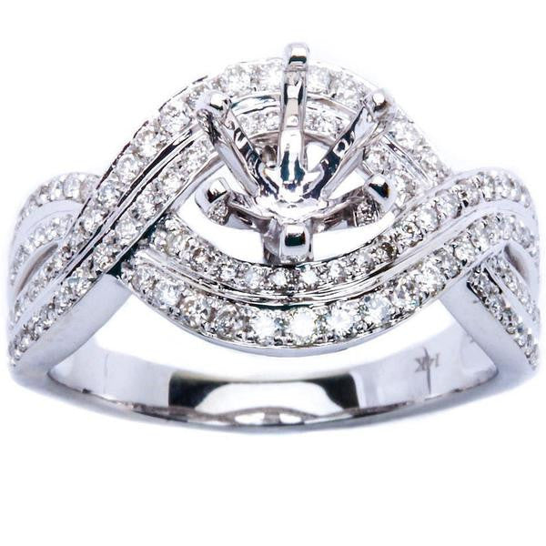 .53ct Twisted Prong 14kt White gold Round Diamond Semi Mount Engagement Ring